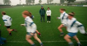 Michael Ryan and Brigid Grant oversee training with the Waterford women's football team in 1998. Photograph: Keith Heneghan/Inpho