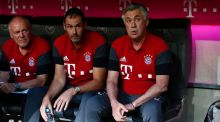 Bayern Munich have blocked Carlo Ancelotti's assistant Paul Clement (middle) from combining his role with one in Sam Allardyce's England set-up. Photograph: Reuters