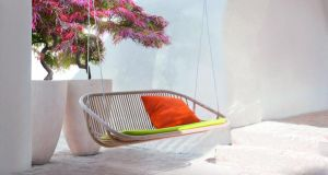 A swing seat adds levity to a living space, either indoors or outside. This ash wood two-seat swing by Paola Lenti will add some Italian style to a space and costs €4,997, ex VAT, from Minima. The swing comes with safety stainless steel cables covered with a braid, clamps and hooks for suspension from the ceiling or beam, and a cover. minimahome.com; 01-633 7716
