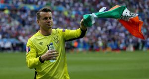 Ireland's Shay Given bids farewell to fans after exiting Euro 2016 at the hands of France. Photo: Inpho