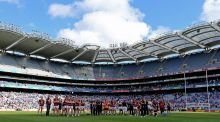 Thousands of empty seats  at the Leinster football final between Dublin and Westmeath which attracted a crowd of less than 40,000 to Croke Park. Photograph: Donall Farmer/Inpho