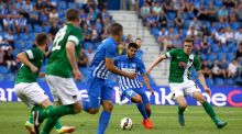 Genk's Alejandro Pozuelo with Garry Buckley of Cork City during their Europa League third qualifying round first leg clash. Photo: Inpho