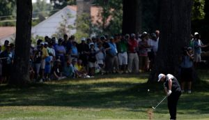 Shane Lowry of Ireland hits his shot on the 3rd fairway during the first round of the PGA Championship at Baltusrol Golf Club in Springfield, New Jersey. Photo: Jason Szenes/EPA