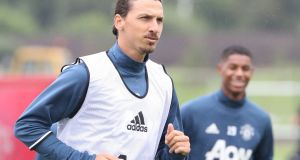 Zlatan Ibrahimovic of Manchester United in action during a first team training session at Aon Training Complex in Manchester, England. Photo: John Peters/Man Utd via Getty Images