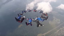 Aerial acrobatics take place in the sky for world championships