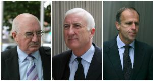 Willie McAteer, Denis Casey and John Bowe were all handed jail terms on Friday for their roles in a €7 billion fraud. Photograph: Composite/Brenda Fitzsimons/Collins Courts