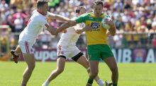 Tyrone's Niall Sludden and Ronan McNabb tackle Donegal's Michael Murphy: Murphy has ability to inflict damage on  Cork's inside line on Saturday. Photograph: Lorraine O'Sullivan/Inpho