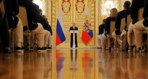 Russia's president Vladimir Putin speaks during a send-off for members of the Russian Olympic team at the Kremlin ion Wednesday. Mr Putin visits Slovenia on Saturday. Photograph:  Maxim Shemetov/Reuters