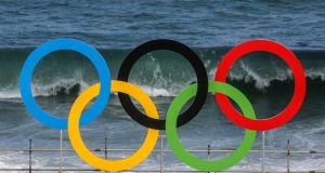 Olympic rings at the beach volleyball arena at Copacabana beach in Rio de Janeiro, Brazil. Photograph: Sergei Ilnitsky/EPA