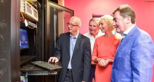 Pictured at the launch of the Ludgate Hub in Skibbereen are (l-r) Sean Atkinson, ceo of Siro; John Field who donated the building; Anne O'Leary, ceo of Vodafone Ireland and Sean O'Driscoll, Glen Dimplex Group President. Photograph: John Allen