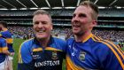 Tipperary manager Liam Kearns with Peter Acheson at the end of the game. Photograph: Donall Farmer/Inpho