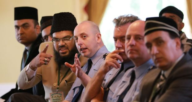 Imam Rabeeb Mirza and Garda Darren Coventry-Howlett of the Garda Racial, Intercultural and Diversity Office, talk at the Ahmadiyya Muslim Association of Ireland annual conference