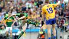 Kerry's David Moran launches a kick towards the Clare goal in the All-Ireland quarter-final at Croke Park. Photograph: Ryan Byrne/Inpho