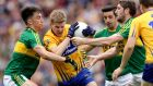 Clare's Podge Collins is surrounded by Kerry players during the  All-Ireland SFC quarter-final at  Croke Park. Photograph: Ryan Byrne/Inpho