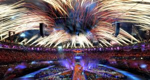 The closing ceremony for the London 2012 Olympic Games. Photograph: Wally Skalij/Getty Images