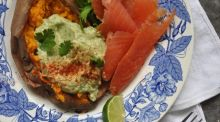 Lilly Higgins: Baked sweet potato with smoked trout and avocado