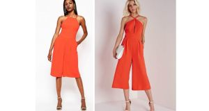 This orange jumpsuit from River Island  (available on Asos) will look great at the end of the summer holidays for €68.38, and this keyhole jumpsuit from Misguided is a total bargain at €19.95