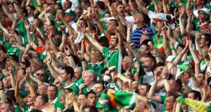 Irish fans celebrate during  EURO 2016 at Stade Pierre Mauroy in Lille Metropole, France, 22 June 2016. Photograph: EPA/Laurent Dubrule