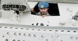 Tommy Hodson (5) from Co Kildare at the open day at Casement Aerodrome, Baldonnel. Photograph: Maxwell
