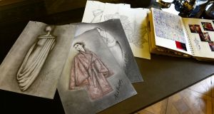 Sketches by fashion designer Umit Kutluk, in his Merrion Square studio. Photograph: Dara Mac Dónaill