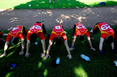 Craobh Rua players stretching prior to a game at  The European GAA play offs in Munnich.