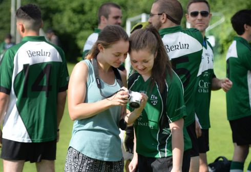 Rachel Lynch  and Caoimhe Lynch  in the Berlin camp during the Euro GAA play offs in Munich.