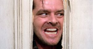 Axe happy: Jack Nicholson in The Shining. A video has come to light shows how he got ready for the famous axe scene in the film