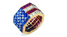 American flag diamond, sapphire, and ruby ring by Bulgari, estimated at $5,000-$8,000