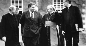 Pictured in 1990 (from left): Dr Dermot Clifford, Archbishop of Cashel and Emly; Peter Sutherland; Cardinal Tomás Ó Fiaich; and Monsignor Michael Ledwith, then president of the college. Photograph: Frank Miller