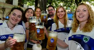 Enjoying a beer at Hofbrahaus, team members of the Munich Colmcilles: Emma Kerins, Katie Protano, Zoe Ira-Flynn, James O Connor, Nicole Werner and Grainne Temple . Photograph: Cyril Byrne / The Irish Times