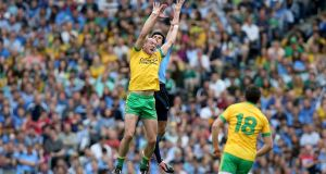Dublin's Cian O'Sullivan with Donegal's Neil Gallagher  during the 2014 All-Ireland semi-final. The teams meet again this evening  at a sold-out Croke Park. Photograph: Donall Farmer/Inpho