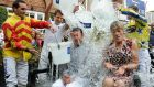 Frankie Dettori and  Clare Balding take part in the Ice Bucket Challenge (for the UK branch): the campaign went viral in 2014 and helped the Irish Motor Neurone Disease Association raise €2 million. Photograph: Anna Gowthorpe/PA Wire
