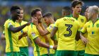 Norwich City's Wes Hoolahan (centre) celebrates scoring his side's second goal. Phot: Dave Howarth/PA Wire.
