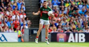 Mayo's Lee Keegan celebrates at the end of the game. Photo: Donall Farmer/Inpho