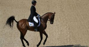 Ireland's Pádraig McCarthy riding Simon Porloe  on day one of the  individual and team dressage event  at the Olympic Equestrian Centre on August 6, 2016 in Rio de Janeiro, Brazil. Photograph: Rob Carr/Getty Images