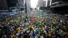 Activists protest against suspended president Dilma Rousseff in Sao Paulo the week before the Olympic Games began. Photograph: Miguel Schincariol/AFP/Getty