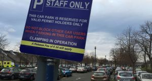 Car parking paces have been reduced for staff at St James's  Hospital. Photograph: Alan Betson / The Irish Times