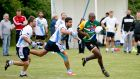 Tshoboko Johnviss Moagi  of the South Africa Gaels in action against Galicia  at UCD  in Dublin. Photograph: Chris Bellew / Copyright Fennell Photography 2016