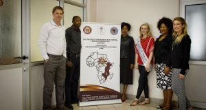 From left to right, Eric O'Flynn, programme director, RCSI/Cosecsa collaboration programme; Dr Charles Mabedi, urology trainee, Kilimanjaro Christian Medical Centre; Rosemary Mugwe, chief executive officer, Cosecsa; Elysha Brennan, Rose of Tralee and RCSI medical student; Judith Andrew,senior programme officer, Cosecsa; and Stephanie Kirwan, Development Perspectives, an Irish NGO.