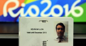 A picture of an ID card belonging to Kevin Mallon, a  THG Sports director, displayed during a press conference at the City Police's station in Benfica, north of Rio de Janeiro. Photograph: Tasso Marcelo/AFP/Getty Images