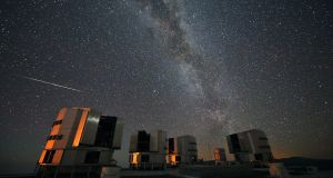 Handout photo issued by the European Space Agency of a Perseid seen in August 2010 above the European Southern Observatory's Very Large Telescope at Paranal, Chile. Photograph: PA