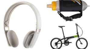 Gibson Trainer Sports Headphones; Tern D16 Foldable Bike; Nathan ExoShot Bottle
