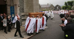 The funeral of Dr Edward Daly takes place at St Eugene's Cathedral in Derry. Photograph: Niall Carson/PA Wire