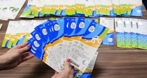Olympic tickets allegedly seized from Kevin Mallon of THG Sports are displayed during a press conference last Monday. Photograph: Tasso Marcelo/AFP/Getty Images