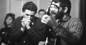 In tune with his times: Richard Fariña plays harmonica with Eric von Schmidt in 1963. Photograph: Redferns/Getty