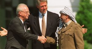 Yitzhak Rabin and Yasser Arafat with Bill Clinton after the signing of the Oslo Accord. Photograph: Ron Edmonds