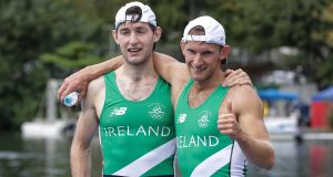Ireland's Gary and Paul O'Donovan celebrate after winning silver in the men's rowing lightweight double sculls final. Photograph: Morgan Treacy/INPHO