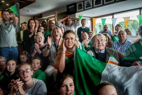 Members of the Irish rowing community gather at the Neptune rowing club, Islandbridge, to watch the Irish rowers in action in Rio. Photograph: Brenda Fitzsimons/The Irish Times