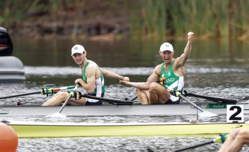 Ireland's Gary and Paul O'Donovan celebrate winning silver in the Olympic Men's Lightweight Double Sculls Final in Rio de Janeiro. Photograph: Morgan Treacy/Inpho