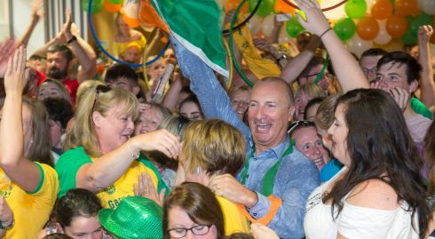 Relatives celebrate the O'Donovan brothers Olpmpic success in Skibbereen. Photograph: Michael Mac Sweeney/Provision